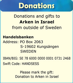 Donations from outside of Sweden to Arken Israel